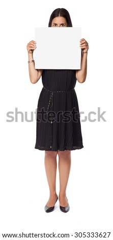 Woman isolated on white background holding a blank board - stock photo