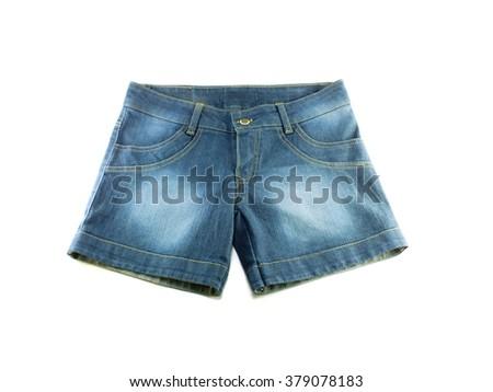 woman jean shorts on white background - stock photo