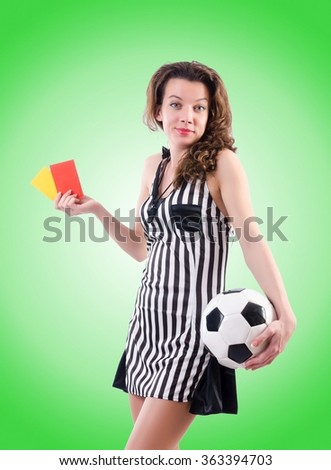 Woman judge against the gradient  - stock photo