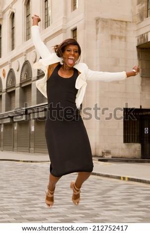 woman jumping.  - stock photo
