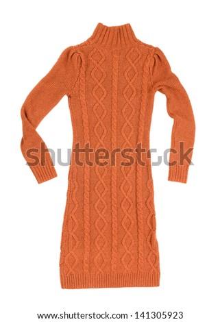 Woman knit dress on white - stock photo