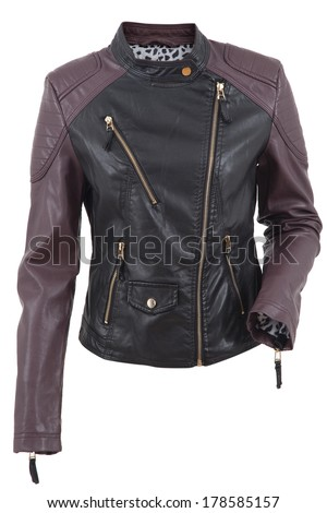 Woman leather jacket isolated on a white background - stock photo