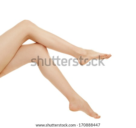 woman leg over white background - stock photo