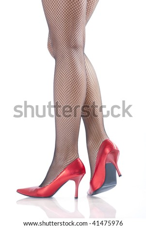 woman legs with red high hells on white background - stock photo