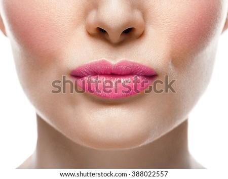 Woman lips nose kiss - stock photo