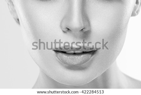 Woman lips nose nature skin black and white  - stock photo