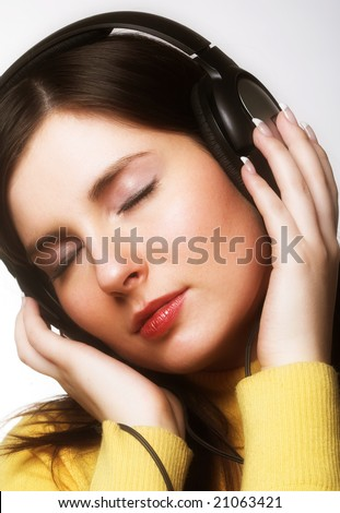 woman listening music - stock photo