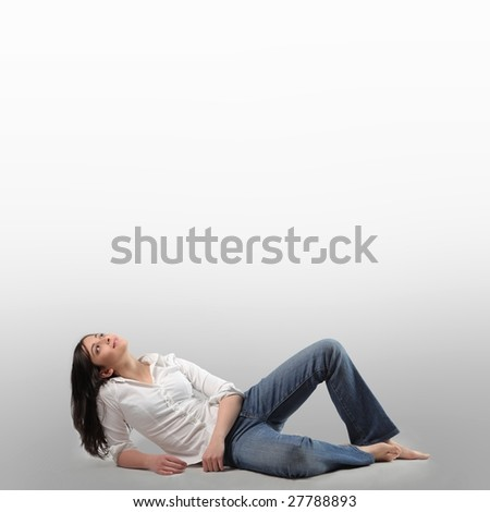 woman lying on a side - stock photo