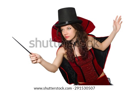 Woman magician isolated on white - stock photo