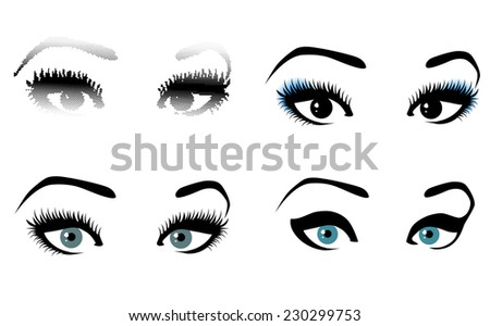 Woman MakeUp Abstract Eye Collection Over White - stock photo