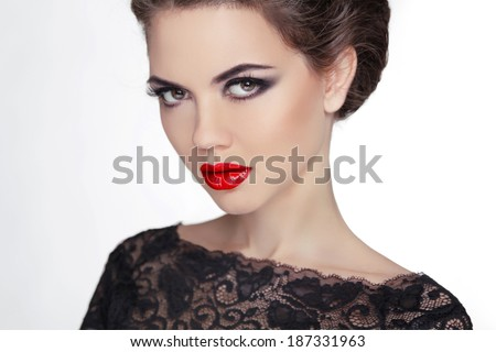 Woman. Makeup. Stare. Vintage Style Mysterious Lady. Retro female - stock photo
