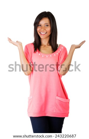 Woman making a scale with her arms wide open. - stock photo