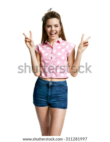 Woman making peace sign. Peace! / photo of young cheerful brunette woman over white background, positive emotions - stock photo