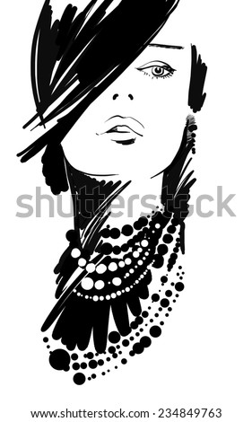woman, man, girl fashion, stylish girl, clothing, fashion, style, beauty, nose, lips, eyes, charming face, cute, beads, clothes, fashion clothes, skinny girl, designer clothing, two, attractive, sexy - stock photo
