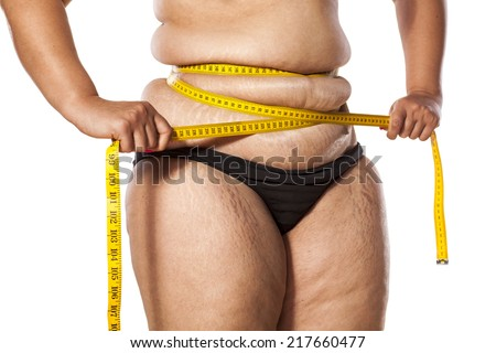 woman measure her waist with tape - stock photo