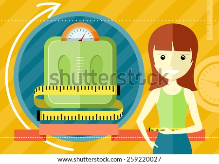 Woman measuring her slim body. Flat design colorful concept for keeping fit, weight loss, fitness, dieting, nutrition regime, healthy lifestyle on stylish background. Raster version - stock photo