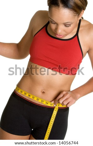 Woman Measuring Waist - stock photo