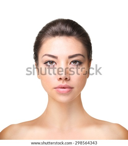 Woman model posing at studio isolated on white. Beauty face closeup portrait. - stock photo