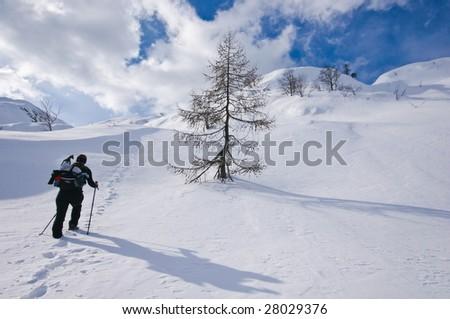 Woman mountaineering - stock photo