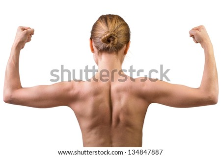 Woman muscular back isolated on white background - stock photo