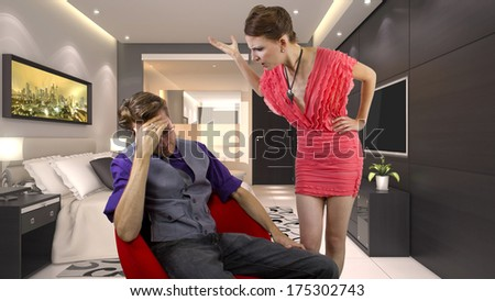 woman nagging and overwhelming her boyfriend - stock photo