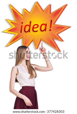 Woman near image of comic book explosion - stock photo