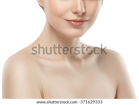 Woman neck shoulder lips nose chin cheeks - stock photo