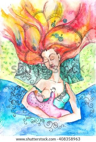 Woman nursing baby. Beautiful illustration of woman and baby. Little girl. Beautiful woman. Motherhood. Mother - stock photo