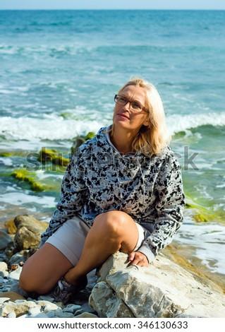 woman of the average age ashore epidemic deathes - stock photo