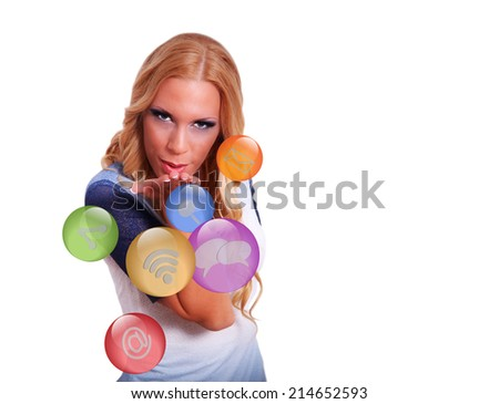 Woman offering spherical internet buttons - stock photo