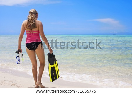 Woman on a Caribbean Vacation - stock photo