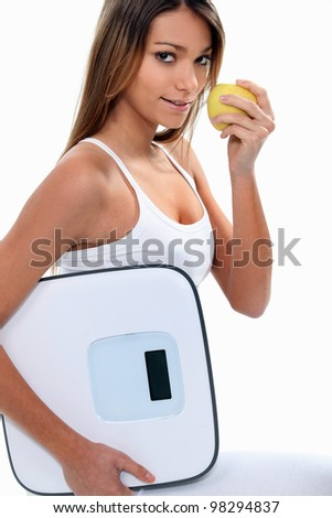 Woman on a diet - stock photo