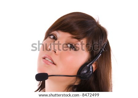 woman on a phone support - stock photo