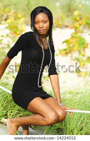 Woman On A Rope - stock photo
