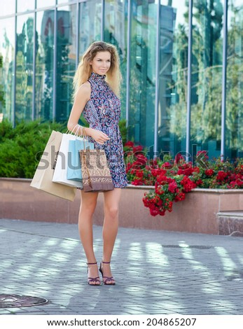 Woman on a shopping. Outdoor. - stock photo