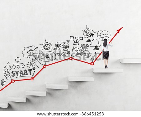 woman on a step of a ladder painting black icons describing business development on the white wall. Red graph on the wall. Back view. Concept of business development. - stock photo