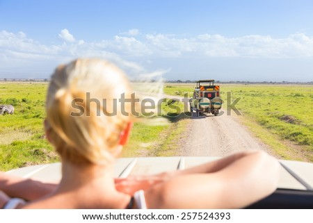 Woman on african wildlife safari observing animals and nature from open roof safari jeep. Rear view. - stock photo
