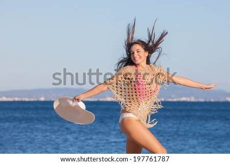 woman on beach summer  holiday in Mallorca or Majorca - stock photo