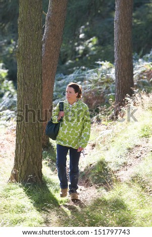 Woman On Country Walk Through Woodland - stock photo