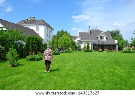 woman on garden - stock photo