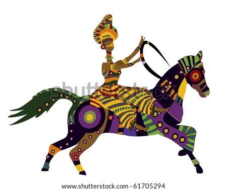woman on horseback in the ethnic style on a white background (raster version) - stock photo