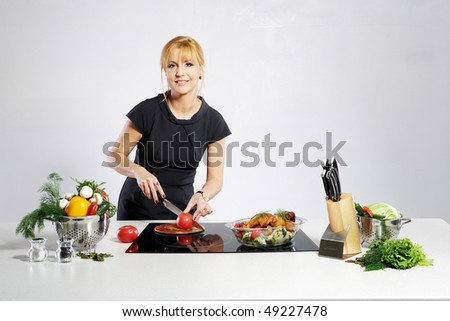 woman on kitchen - stock photo