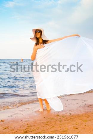 Woman on the Beach. - stock photo