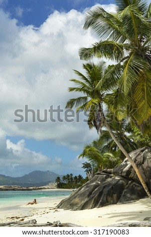 Woman on the beach at Seychelles - stock photo