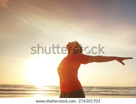 woman on the beach doing fitness - stock photo