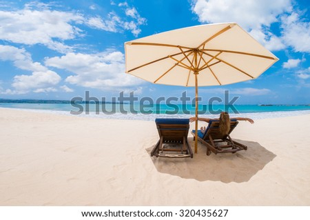 Woman on the beach in Kuta Bali Indonesia - stock photo
