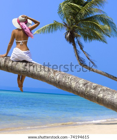 Woman on the beach sitting back on palm tree - stock photo