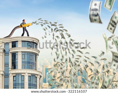 Woman on the skyscraper funds dollars - stock photo
