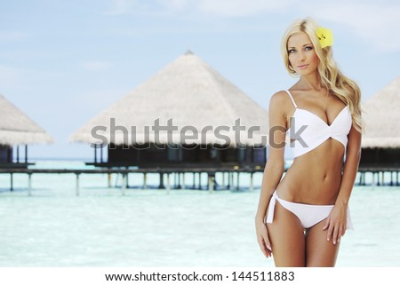 woman on tropical beach house back on the background - stock photo
