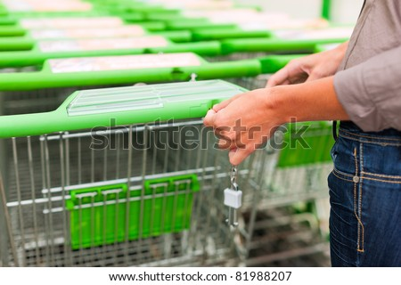Woman - only hands to be seen - in a supermarket gets a shopping cart for the groceries - stock photo